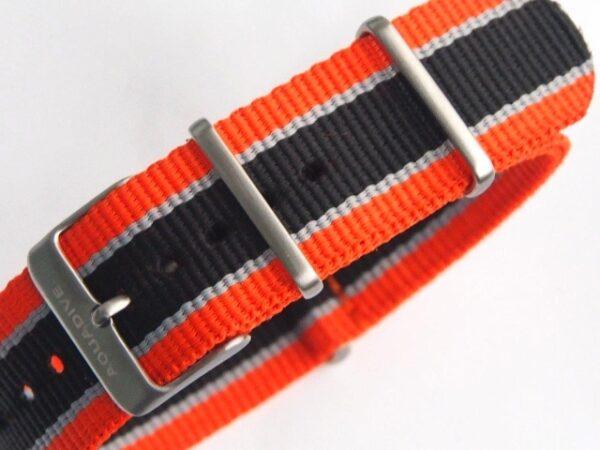 22mm Aquadive orange/black/grey striped NATO strap